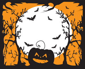 Halloween background with pumpkin and moon in the scary forest