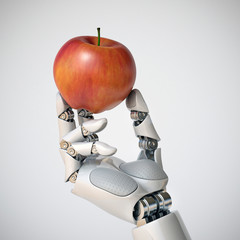 Robotic hand holding an apple 3d rendering, gmo concept, automation concept