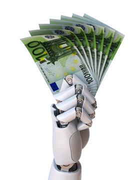 Robot hand holding euro bills 3d rendering