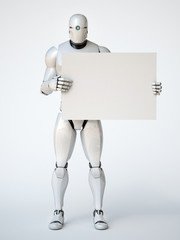 Robot holding blank advertising billboard 3d rendering