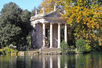 Temple of Aesculapius in Borghese Park Rome