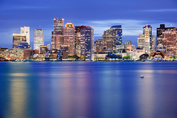 Boston Downtown Skyline at Blue Hour