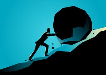 Businessman pushing large stone uphill