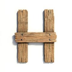 Wood font, plank font letter H