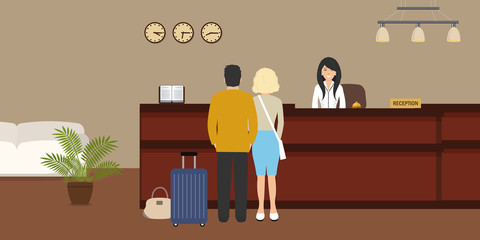 Hotel reception. Young woman receptionist stands at reception desk. There are also visitors here. Travel, hospitality, hotel booking concept. Vector illustration