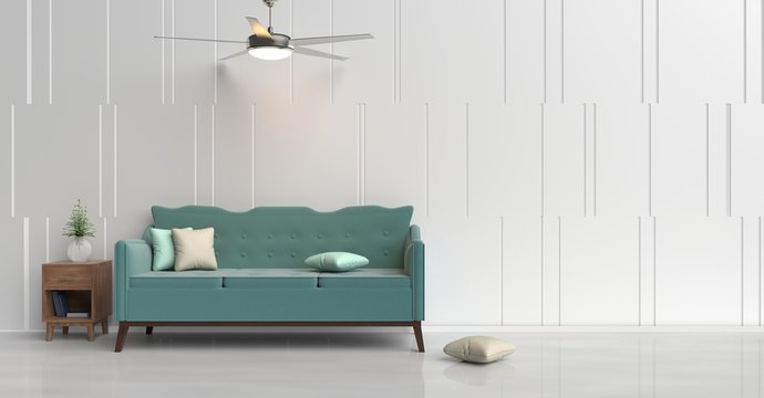 White room decorated with green sofa, tree in glass vase, green&cream pillows, Blue book, Wood bedside table, Ceiling Fan,  White cement wall it is grid pattern and white cement floor. 3d rendering.