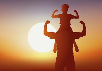 père - garçon - fils - enfant - homme - bonheur - porter - sur les épaules - coucher de soleil