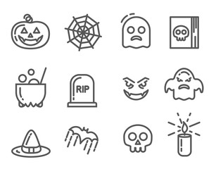 Halloween icons set. Linear signs collection. Vector illustration