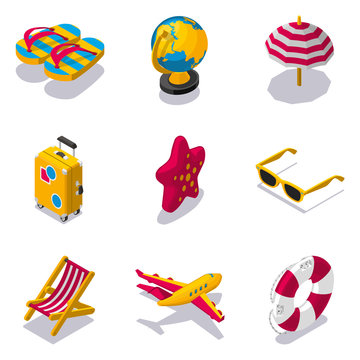 Set of beach vacation isometric icons