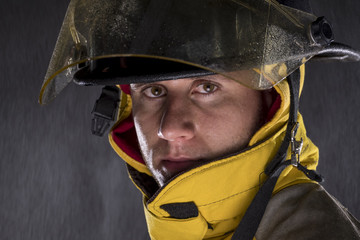 Portrait of a fireman, close up
