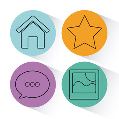 social media related icons over colorful circles and white background vector illustration