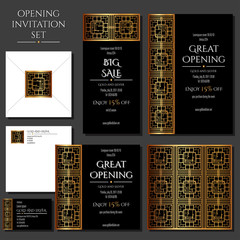 Set of the invitation cards with the gold ornament. Store opening. Collection: cards, envelope, business card.