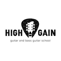 High Gain rock guitar school logo. Guitar neck  isolated plectrum shape