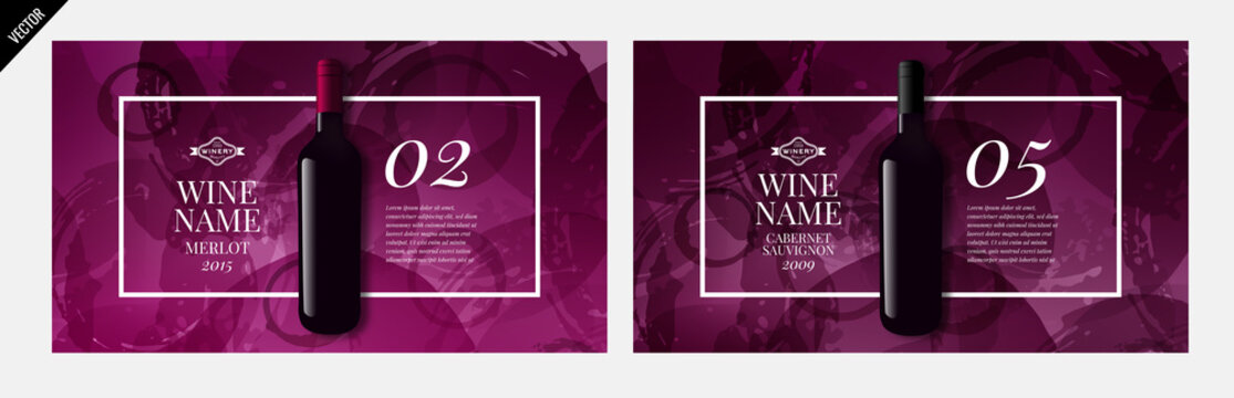 idea for catalog, web page or presentation of wine products