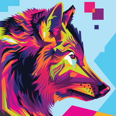 Wolf head pop art illustration style