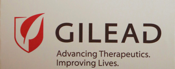 The logo of Gilead Sciences Inc is pictured during a news conference in New Delhi