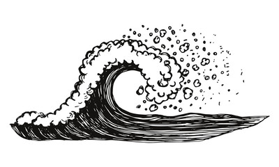Waves of sea with foam and spray vector. hand drawing isolated