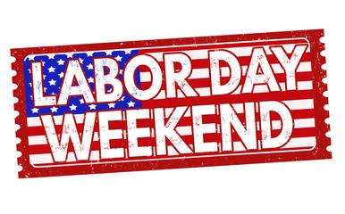 Labor day weekend sign or stamp