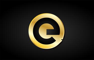 E gold golden letter logo icon design