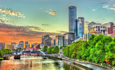Sunset over the Yarra River in Melbourne, Australia