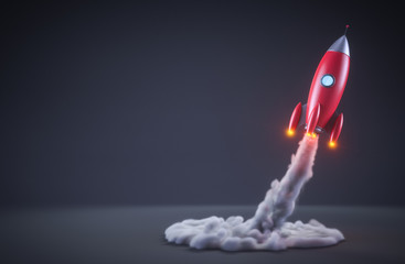 Red rocket launching