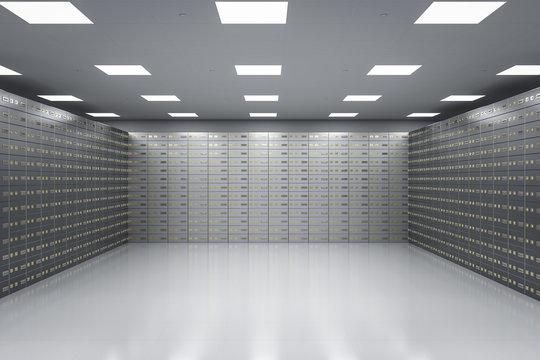 safe deposit boxes inside bank vault