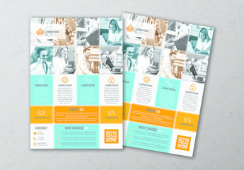 Business Flyer Layout with Blue and Orange Accents 1