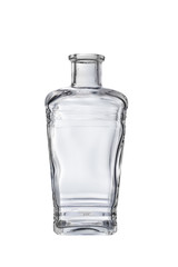 empty glass square bottle on a white background