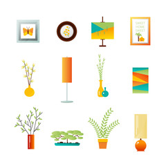 Decorative interior objects . Vector flat illustration .