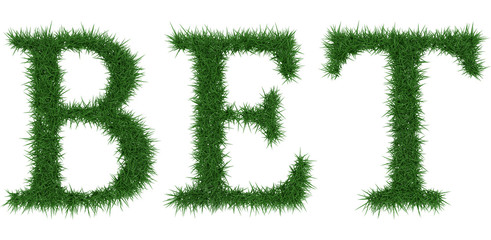 Bet - 3D rendering fresh Grass letters isolated on whhite background.