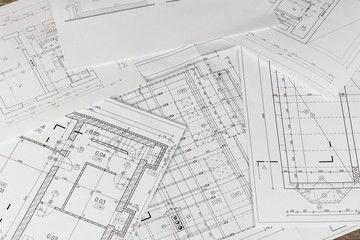 Plans of building. Architectural project. Floor plan designed building on the drawing. Engineering and technical drawing, part of architectural project.