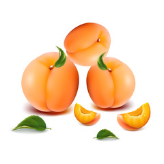 Three juicy apricots with slices, on a white background.