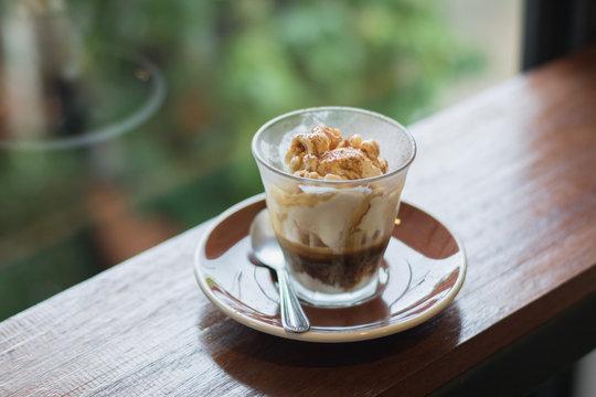 Affogato is a coffee with vanilla ice cream.