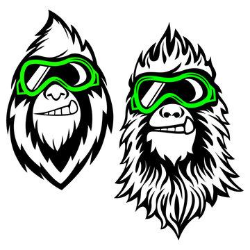 Funny bearded yeti logo