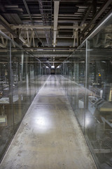 Long corridor in modern industrial production area