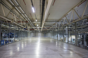 Long corridor in modern industrial production area