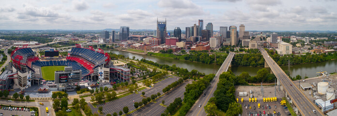 Aerial image Downtown Nashville TN USA