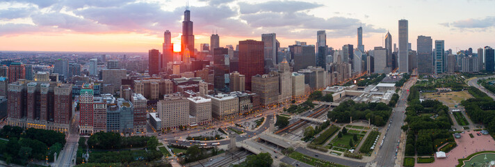 Aerial photo Downtown Chicago at sunset