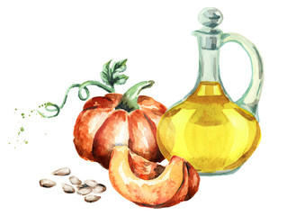 Pumpkin seed oil. Watercolor illustration
