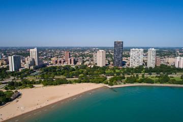 Beach scene summer in Chicago