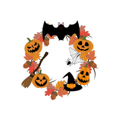 Halloween wreath illustration