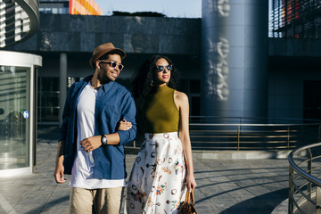 Couple walking in city