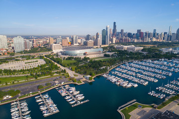 Aerial wide shot of Chicago