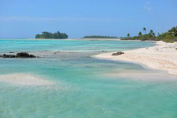 The inner lagoon and seashore of the atoll of Tikehau, Tuamotus archipelago, French Polynesia, south Pacific ocean
