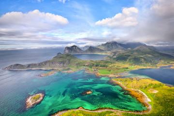 Fotomurales - Scenic aerial view of Lofoten islands in Norway