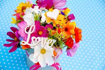 Grußkarte - Blumenstrauß - Love