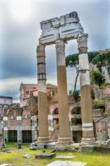 Temple of Vespasian Corinthian Columns Roman Forum Rome Italy