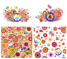 T-shirt prints and wallpaper with hippie symbolic and colorful abstract flowers