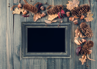Autumn background with frame decorated in rustic style
