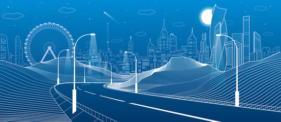 Illuminated highway in mouxntains. Infrastructure illustration. Modern city at background, tower and skyscrapers, business buildings, ferris wheel. Night scene. White lines. Vector design art